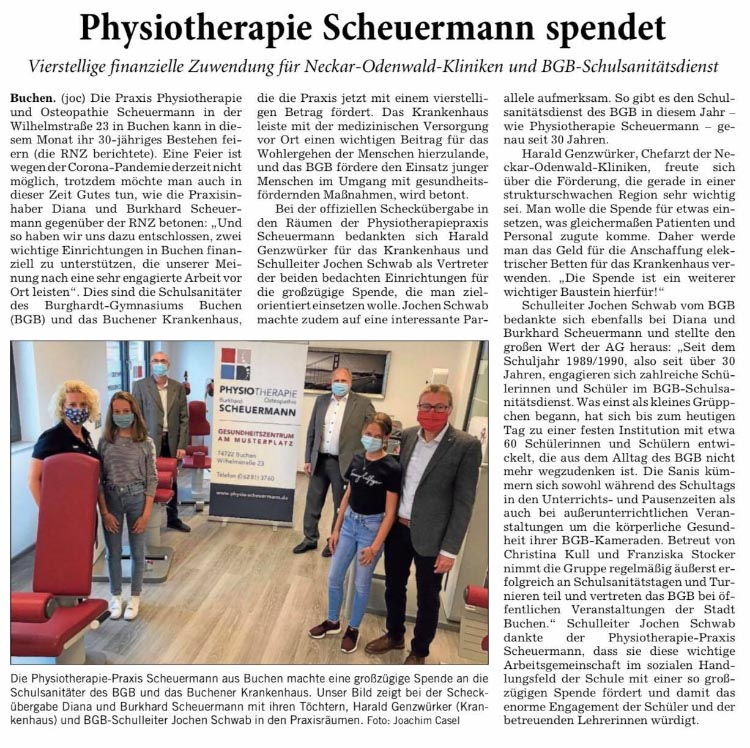 Physiotherapie Scheuermann spendet